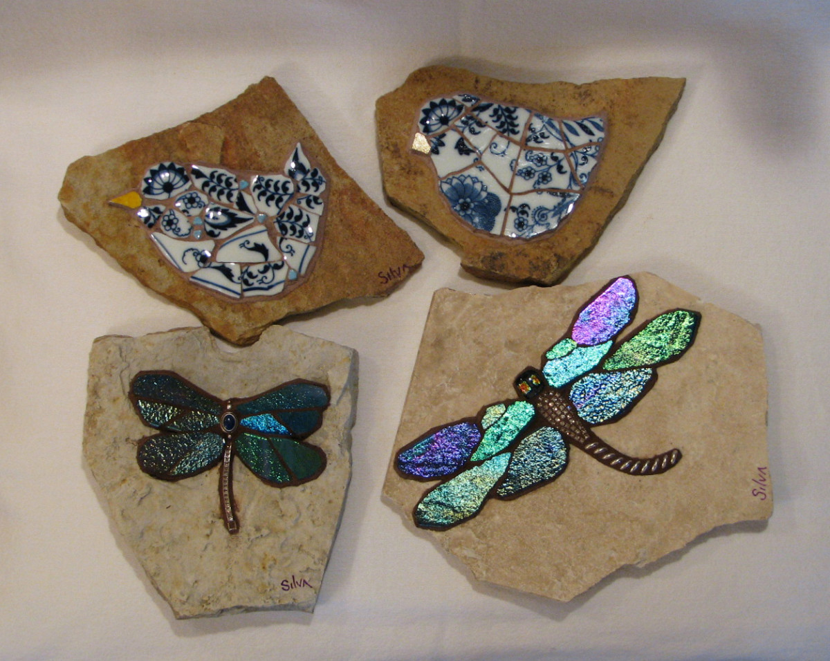 pique assiette, stained glass, and vintage jewelry mosaic dragonflies and mosaic birds