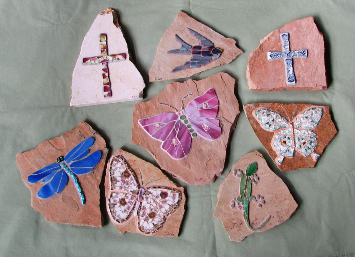 mosaic cross, bird, dragonfly, butterfly, gecko garden stones