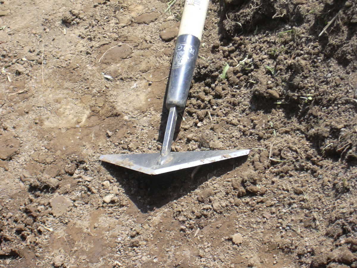 Rogue 80S Scuffle Hoe - A triangle hoe sharpened on all 3 sides, canted at an angle to use as a push-pull weeder.  It took me several tries to learn to use it effectively.