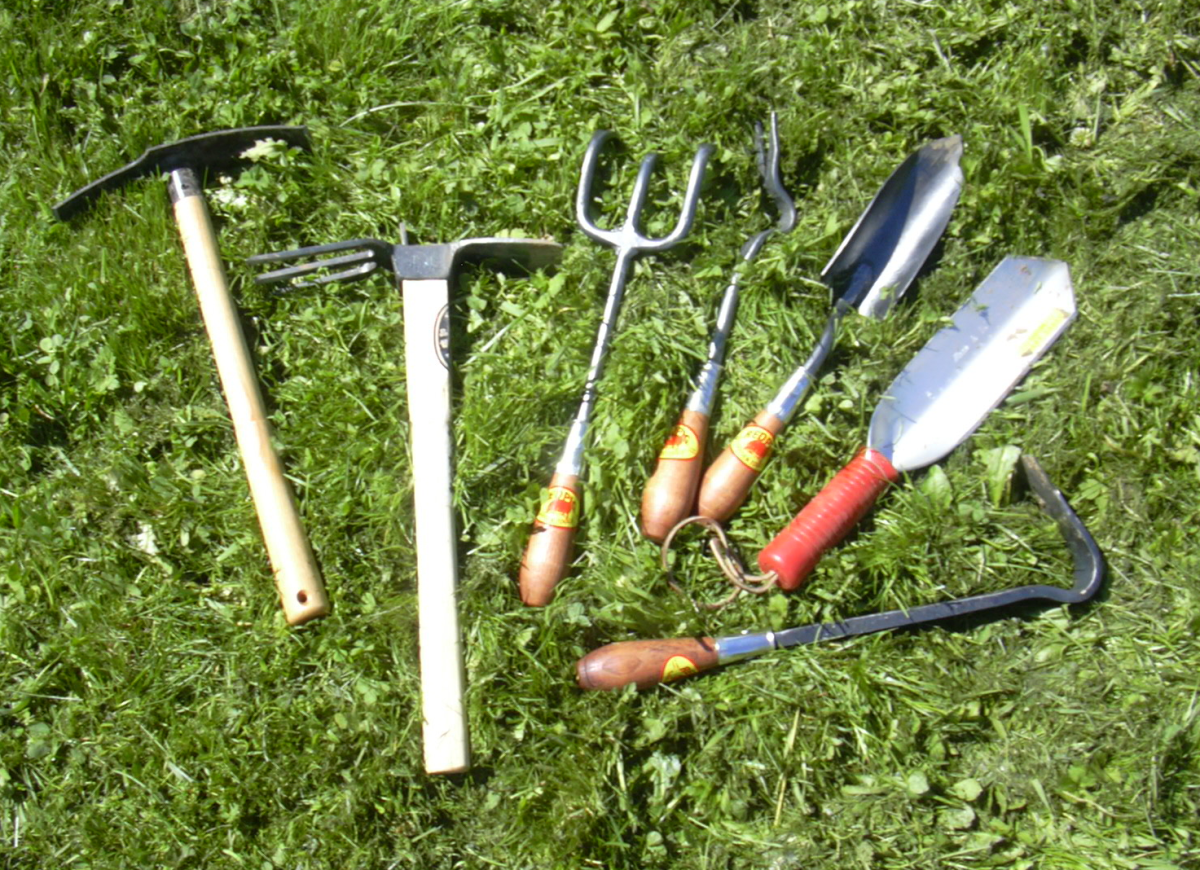 Garden hand tools I used, including Red Pig tools, a Japanese ika hoe (second to left), a mighty Wilcox All-Pro camping trowel (upper right), and a Hoedag (left)