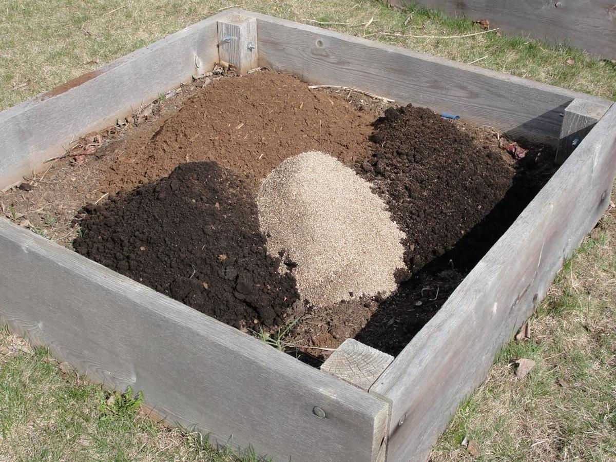 Simply dump in a roughly equal mix of the key ingredients and turn the soil thoroughly to mix it all in.