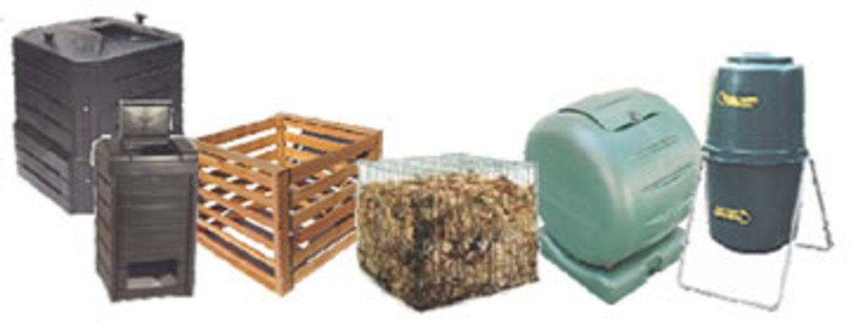 Different types of compost bins.