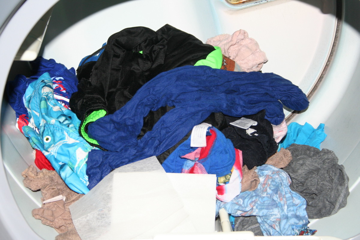 Hang towels and sheets up on a line. Use the dryer for smaller items of clothing.