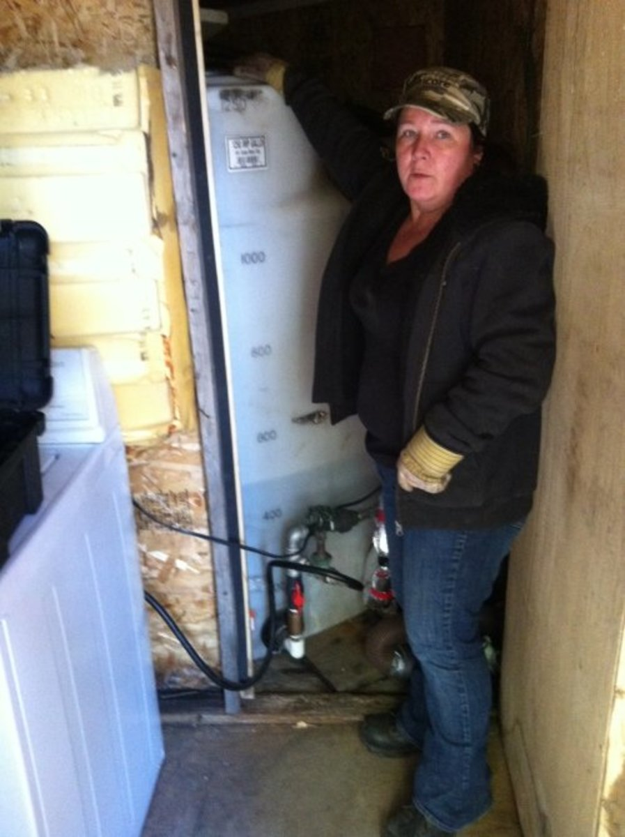 My water cistern is enclosed in an insulated building for heating during cold temperatures through the winter months.