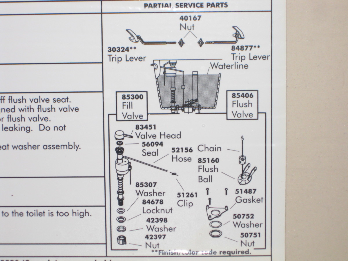 Kohler tank diagram with parts and order numbers labeled. This diagram was located on the inside of the tank lid.