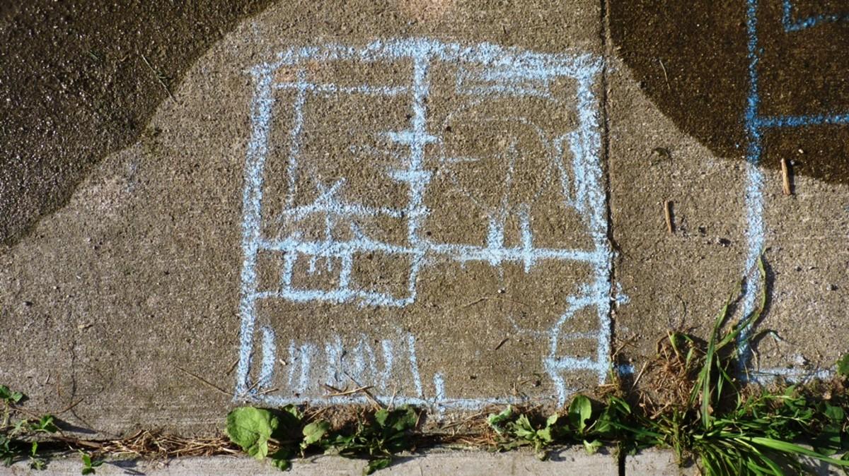 My wife's chalk-drawn plans.