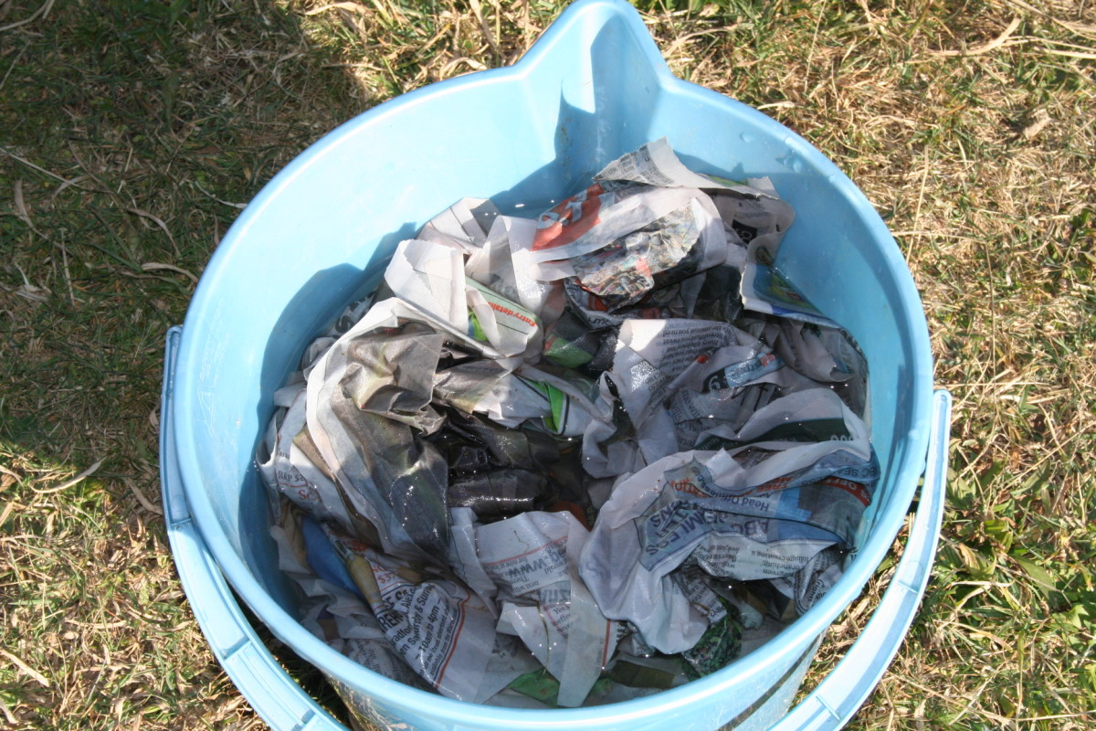 It is a lot faster to fill a bucket with newspaper when you are simply scrunching it instead of shredding it.