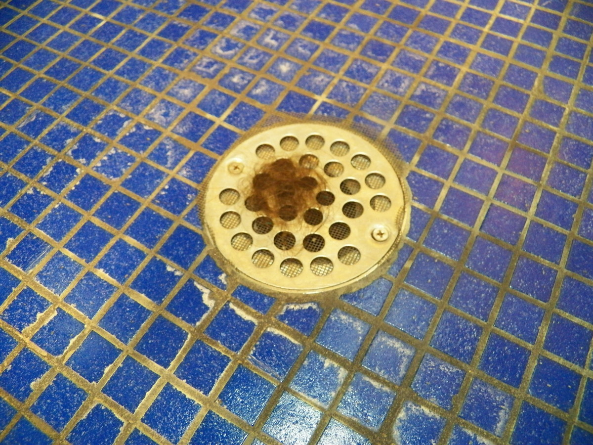 Hair caught by drain screen.
