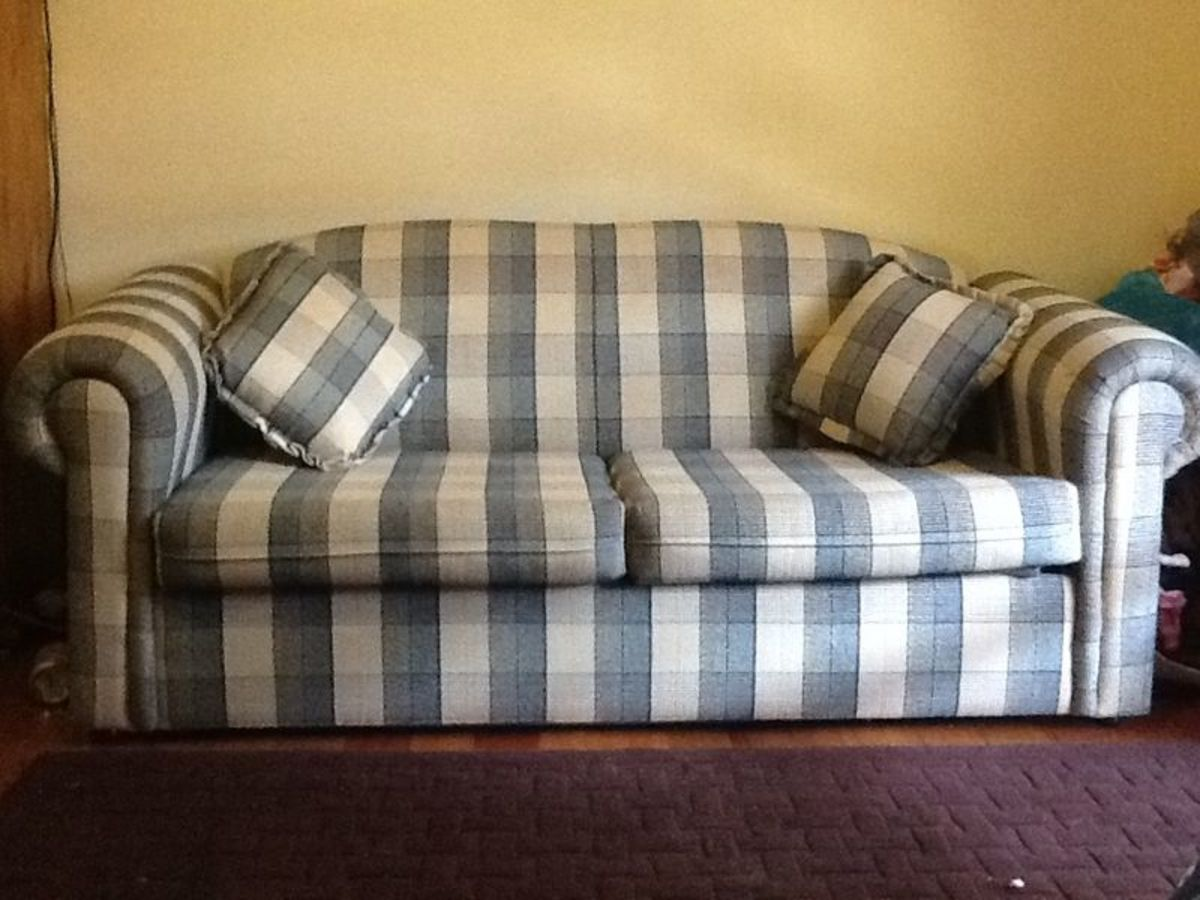 Sofa with matching cushions.