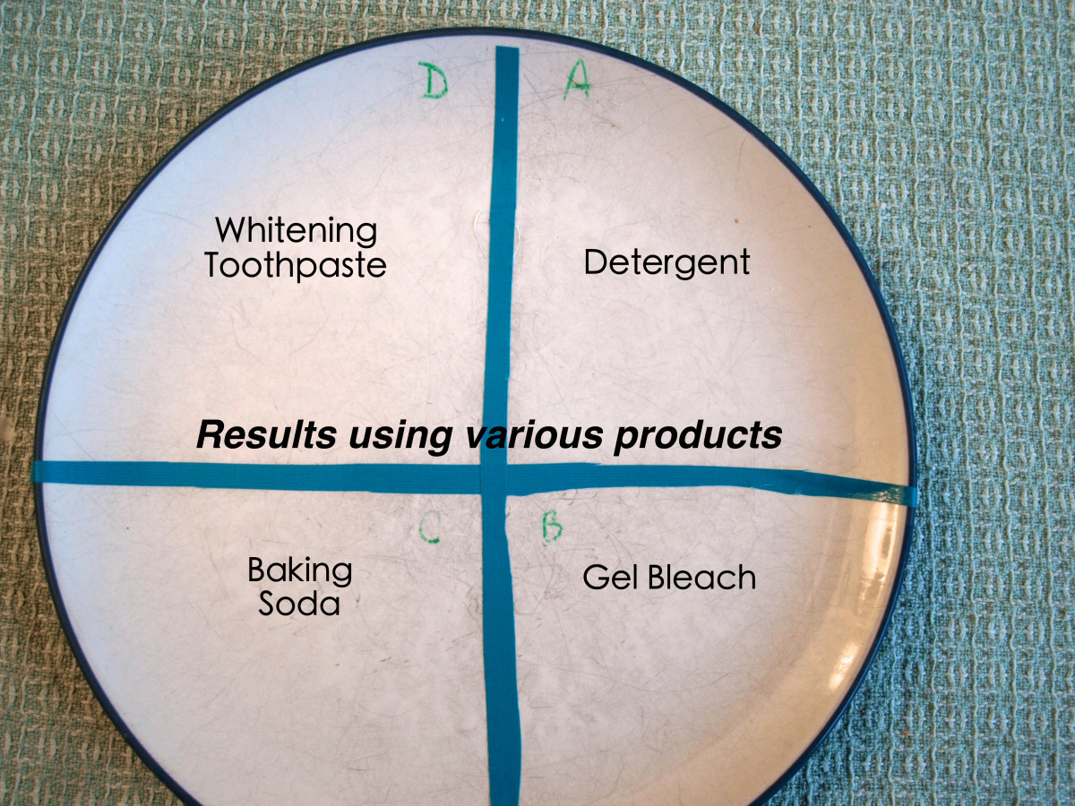 To clean the scuffs off of my dishes, I tested four different products. Here is a picture of the results.