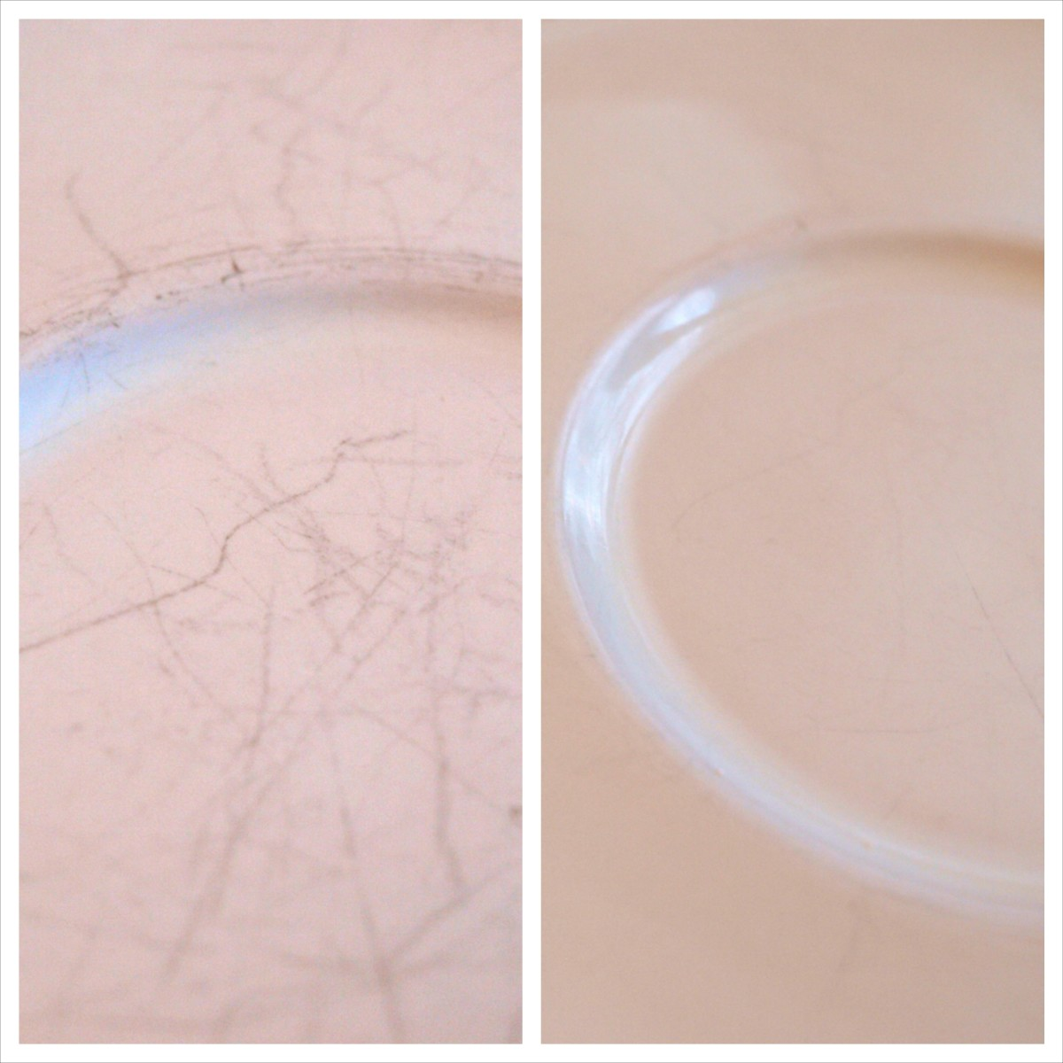 Before and after using whitening toothpaste to remove scuff marks from dishes.