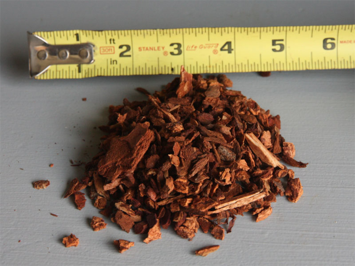 Small sized pine bark to be used as organic aggregate.
