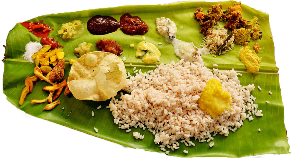 Traditional feast served in banana leaf