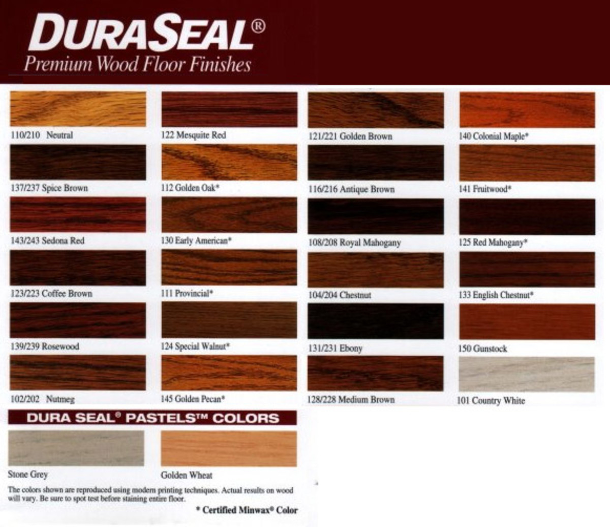 Dura Seal Hardwood Stain Color Chart Swatches