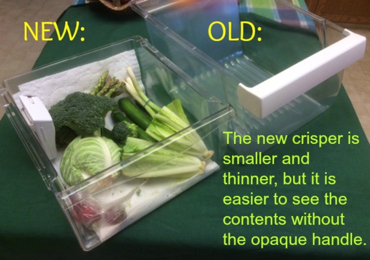 Crisper drawers are slightly smaller than  the old ones.