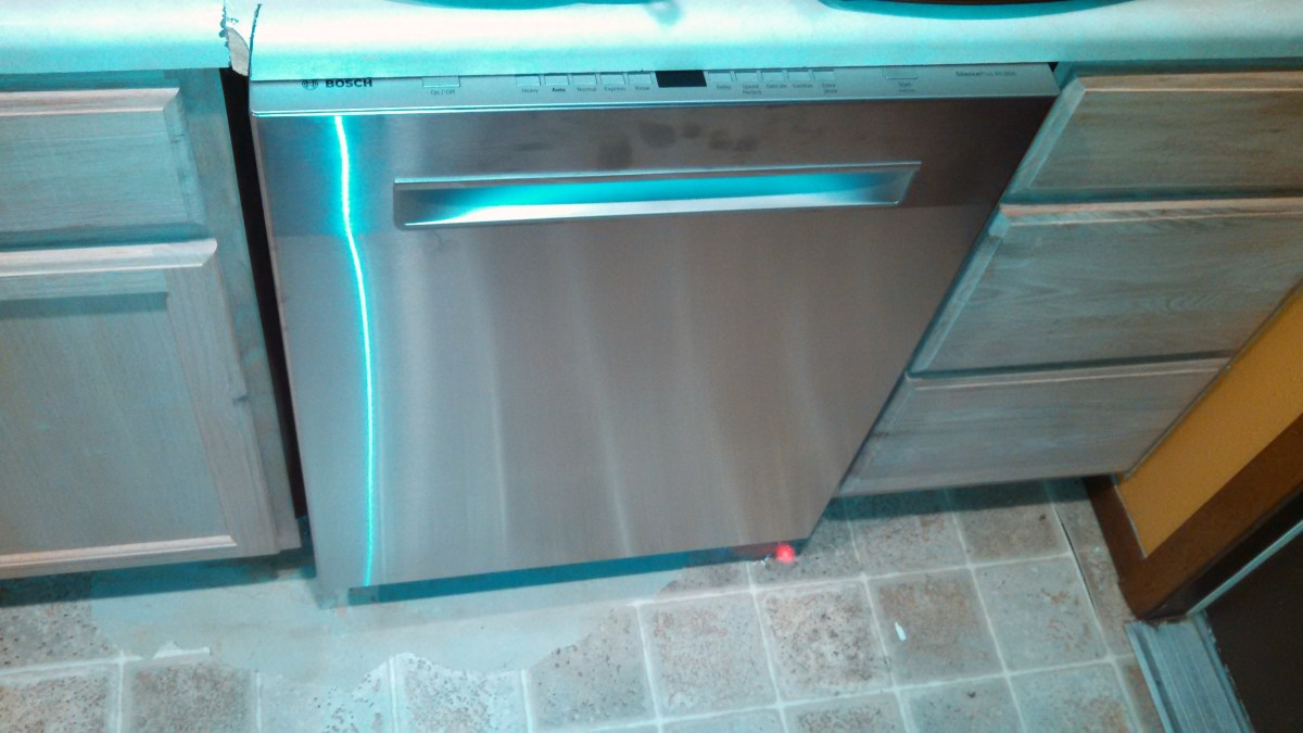 This Bosch is so quiet that it shines a light on the floor so that you know it is running!  Notice the red spot on the floor on the right side.