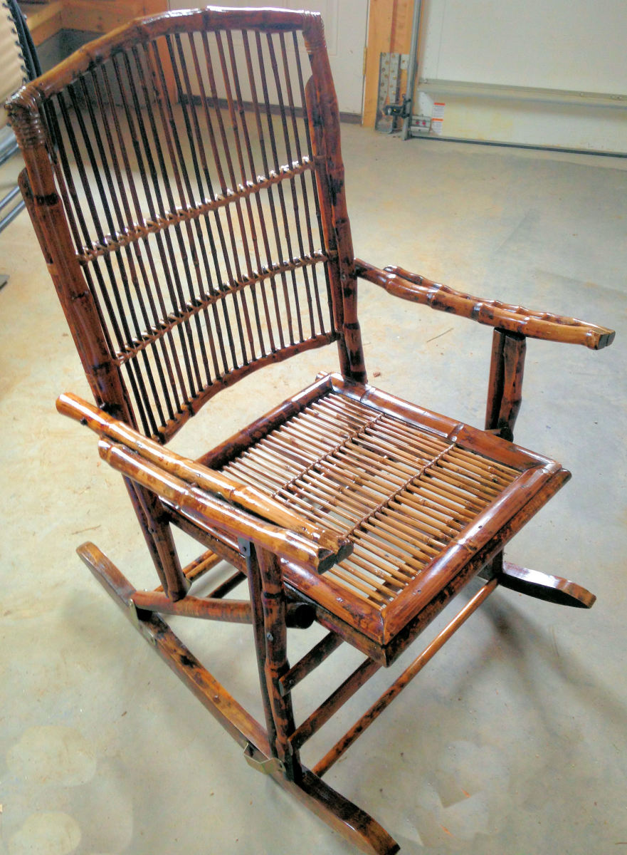 The restored and rejuvenated bamboo rocker.