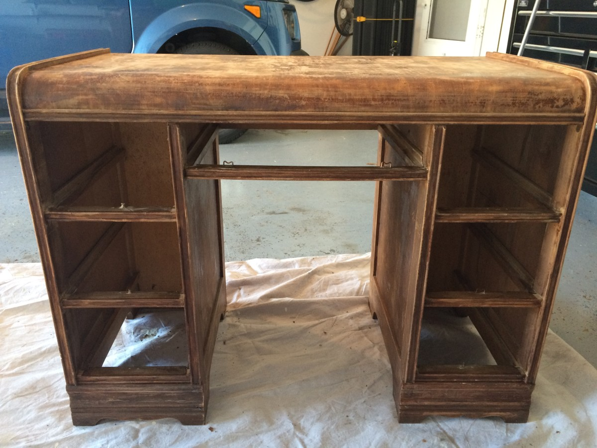 Fully stripped and sanded front of desk