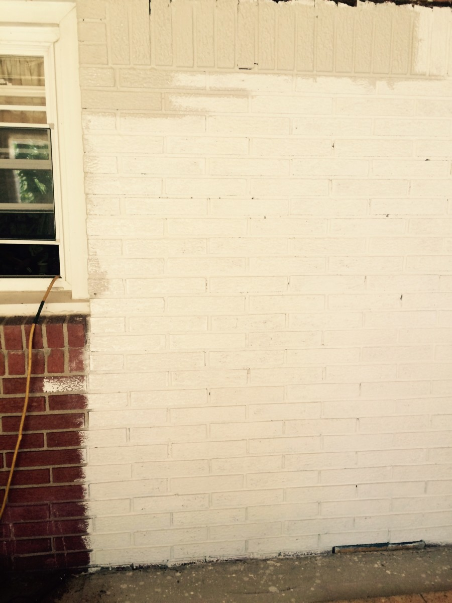 Here's the section of wall that will be left exposed.It's primed and I've started painting on the base color.