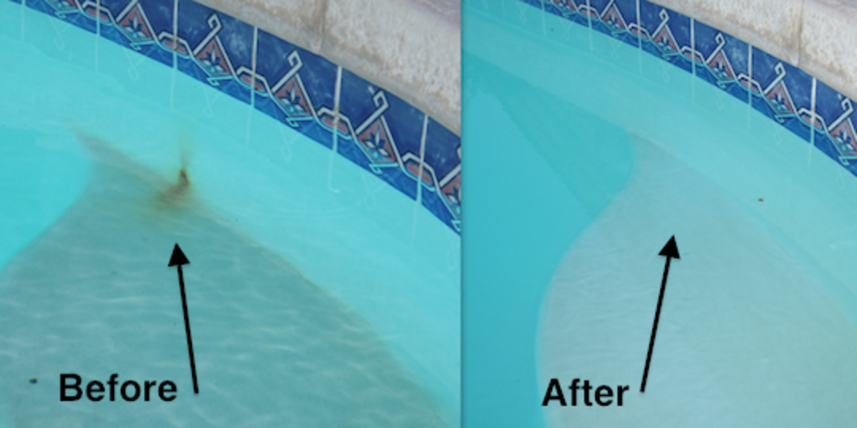 How to remove and prevent metal stains in a swimming pool dengarden for Black spots in the swimming pool