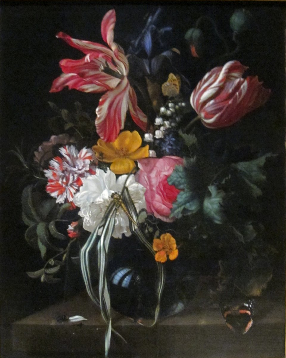 This painting illustrates the beauty of the Rembrandt tulip.