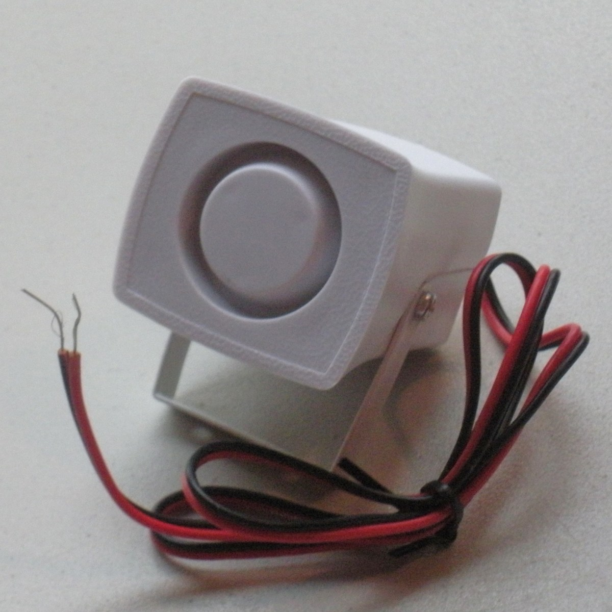 The speaker connects to the control panel with two wires.