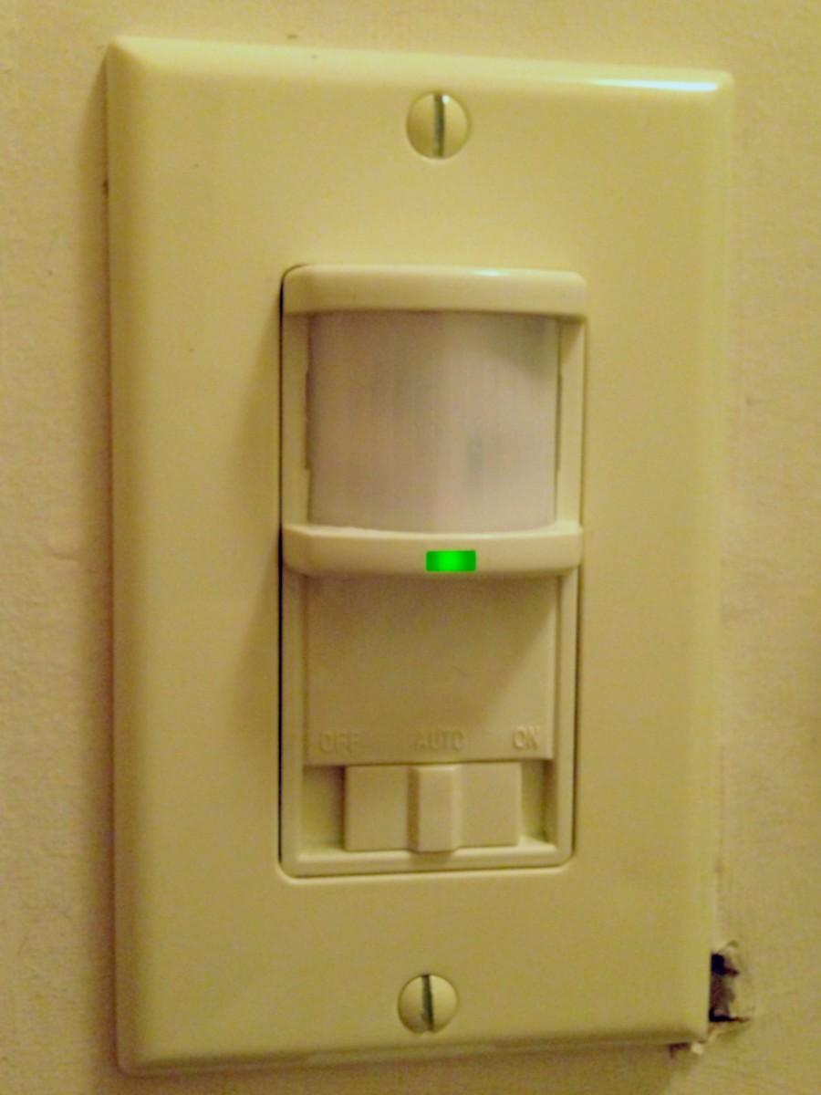 A wall-mounted infrared sensor.
