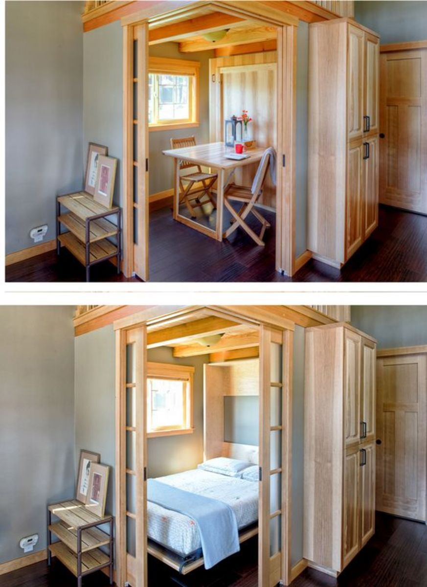 With some creative design, tiny houses can serve two or more functions as is the case with this dining/bedroom option.