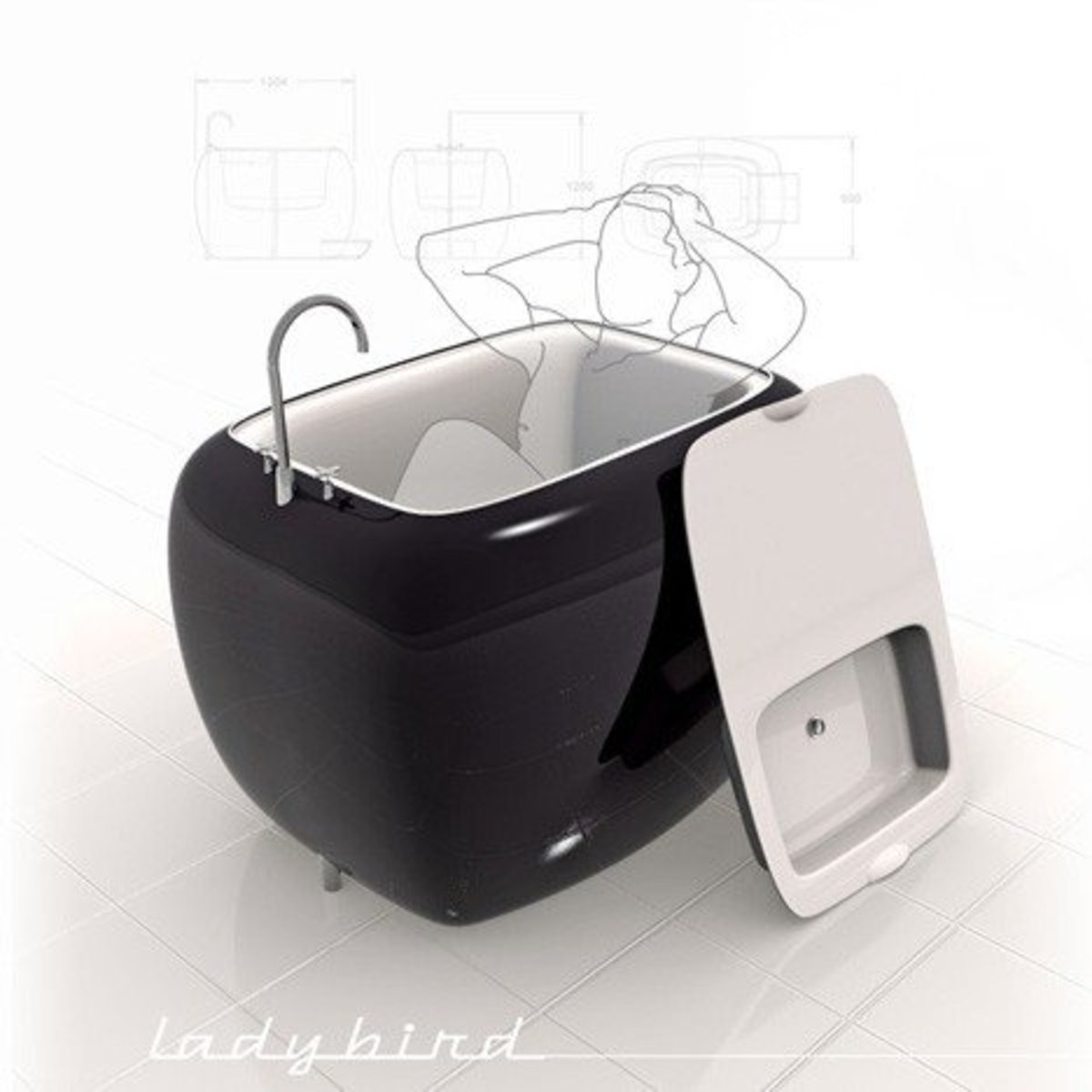 More and more options are available for smaller than normal tubs, which are common in parts of Europe. This one does double-duty, providing a removable sink.