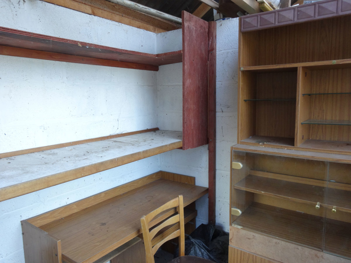 Simple shelving we previously used for storing soft drinks, wine and beer.