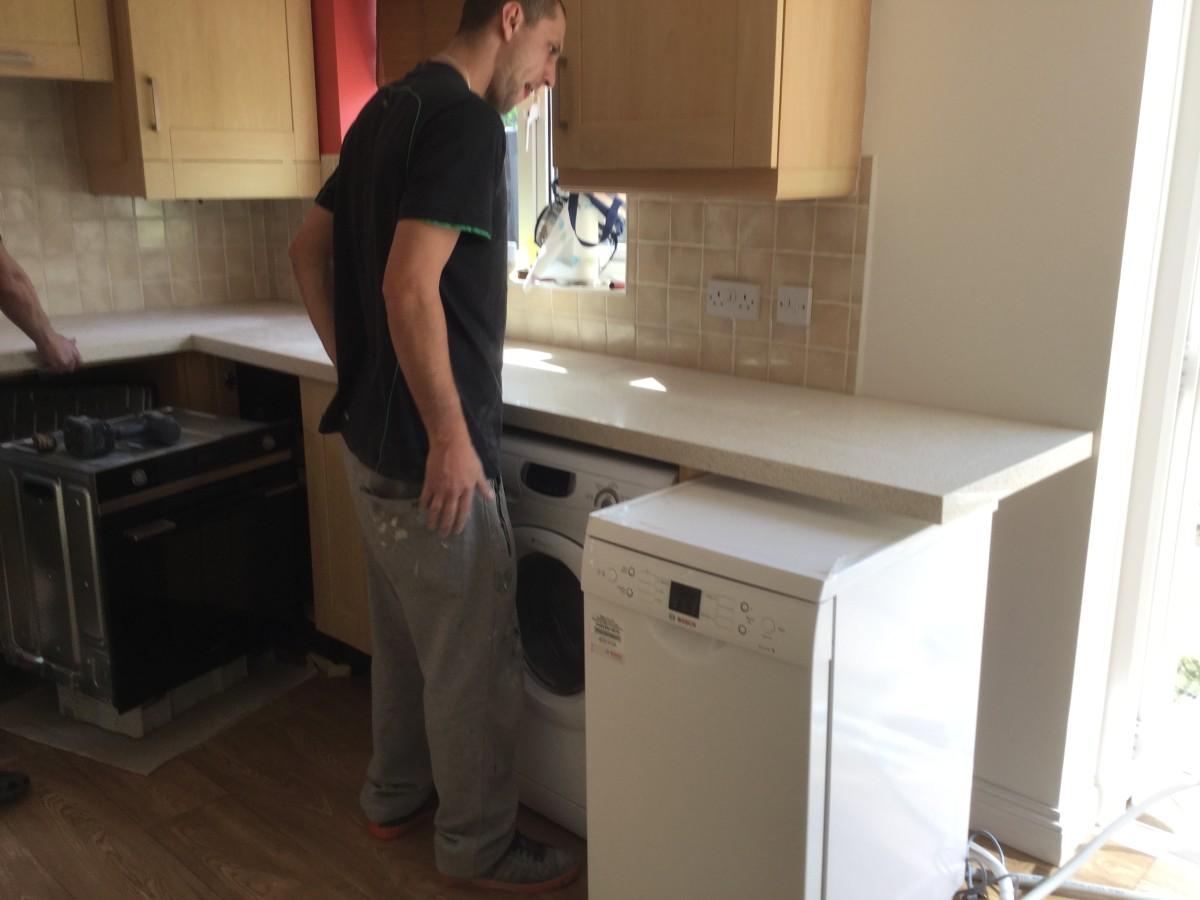 The overlay was laid on top of the worktops so that accurate measurements for cut-outs could be made.