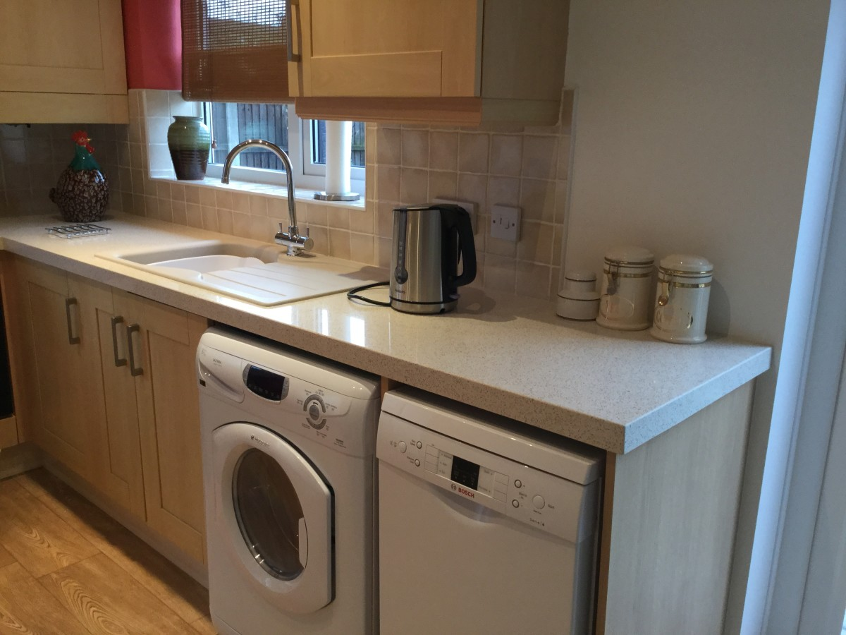 The worktop extension with an 18 inch dishwasher below