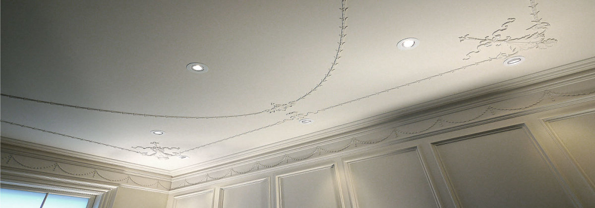 Georgian Style Plaster-Molding Decorated Ceiling