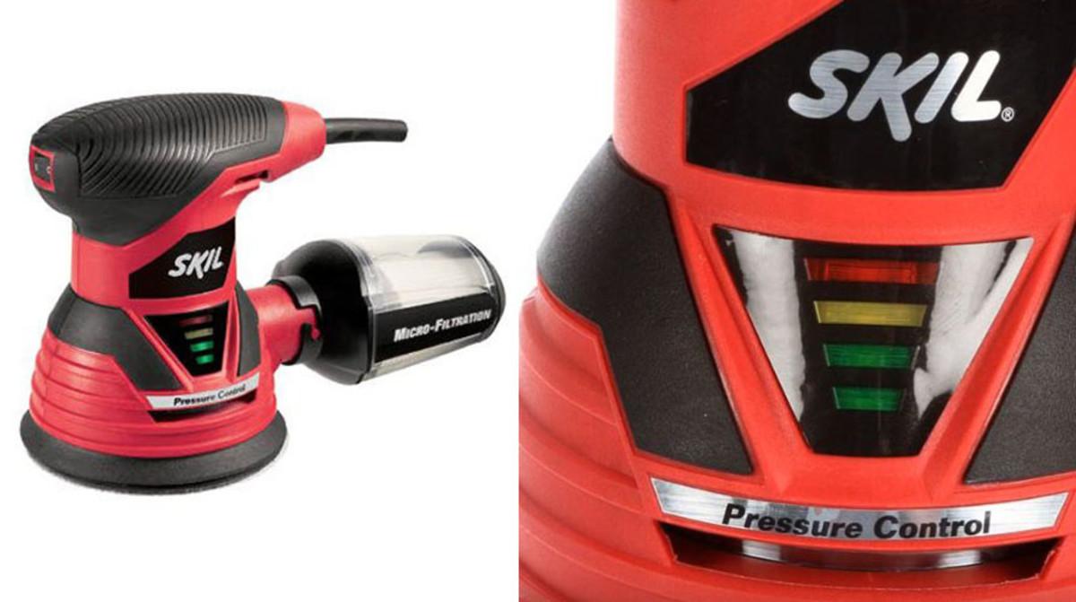 Pressure indicator lights on a Skill sander