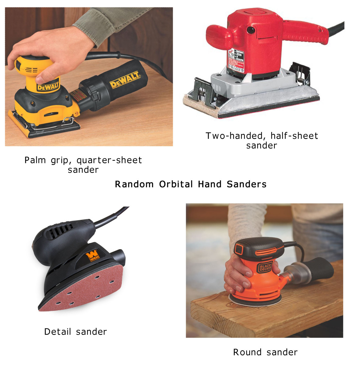 Kinds of random orbital handheld sanders