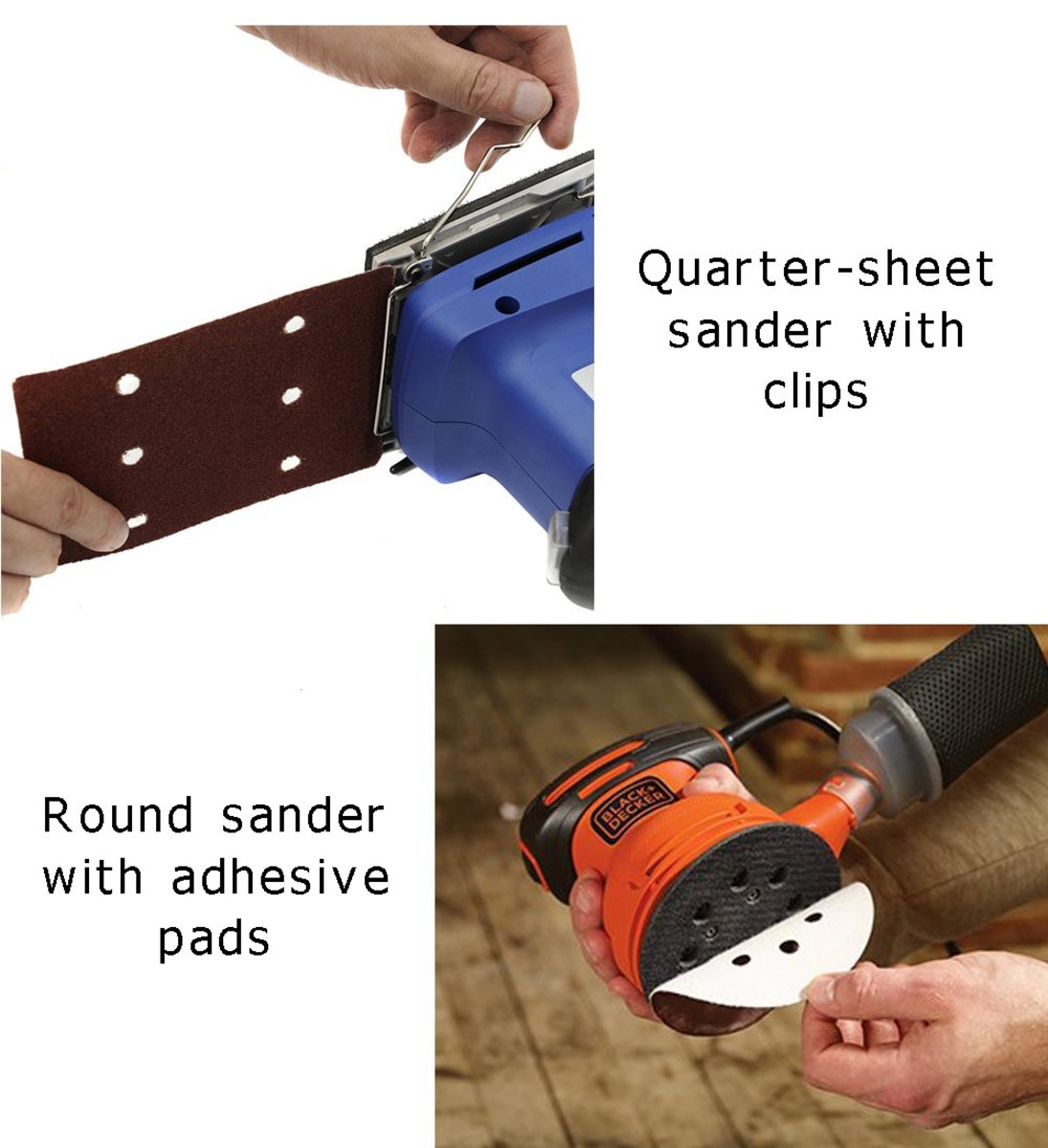 Ways to attach abrasive sheet.