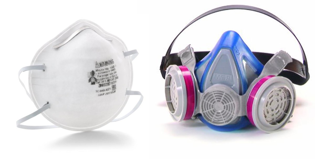 Inexpensive particulate dust mask (left) and toxic dust mask (right)