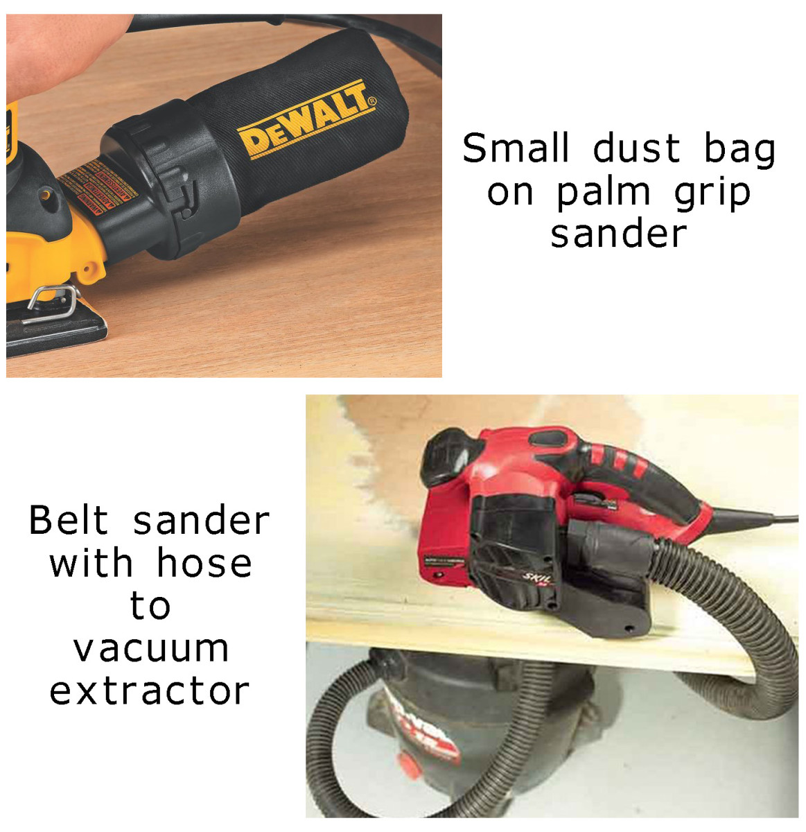 Dust extraction for power sanders.