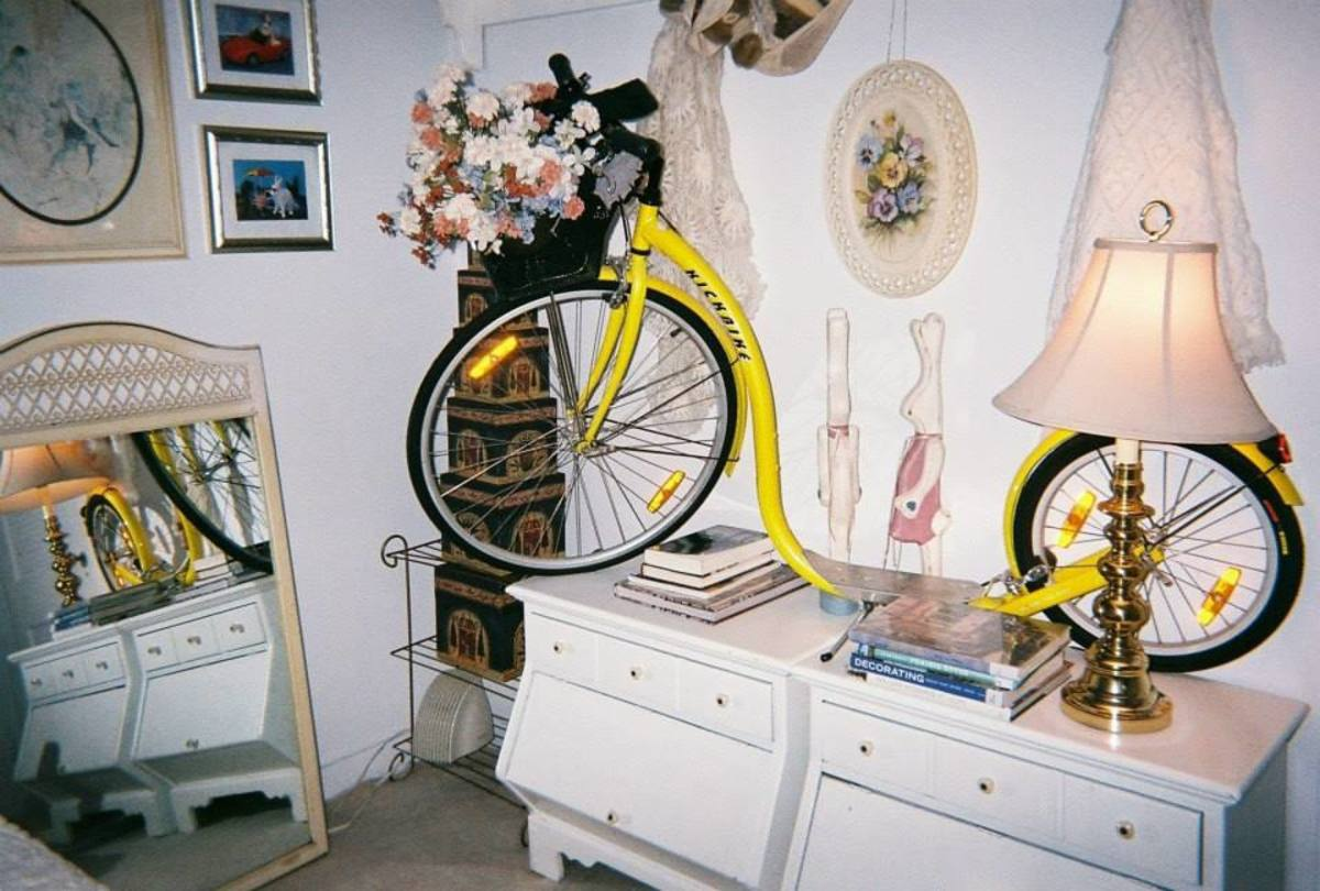 The Kickbike atop twin king night stands.