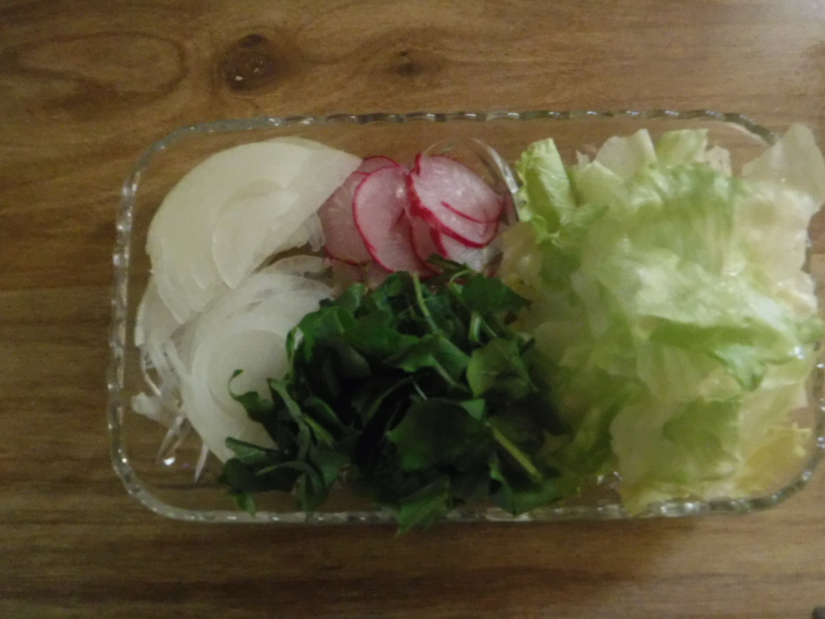 Onions, radishes, arugula, and lettuce.