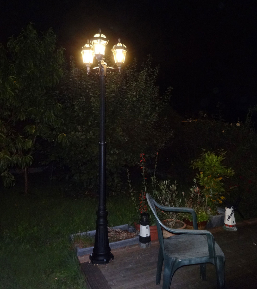 Renovated streetlamp in our back garden.