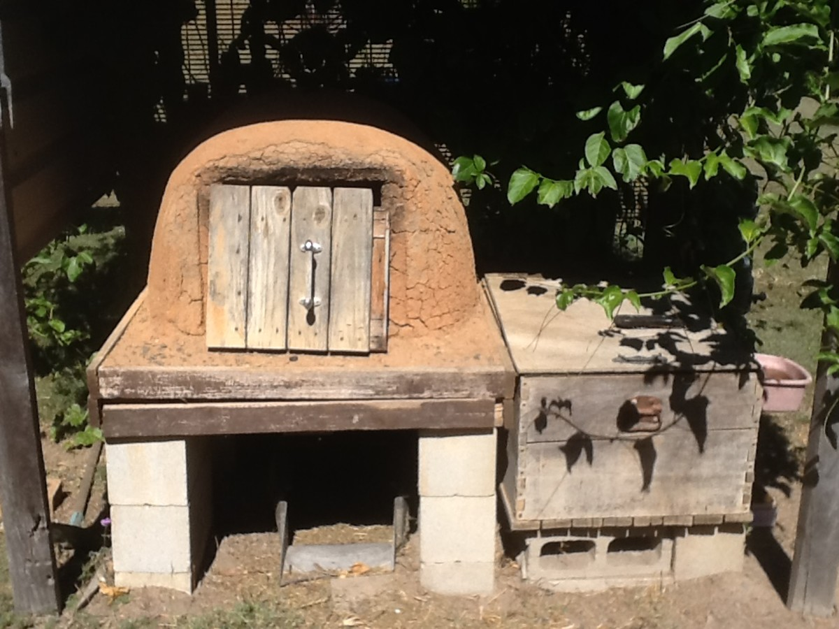 Cob pizza oven showing door