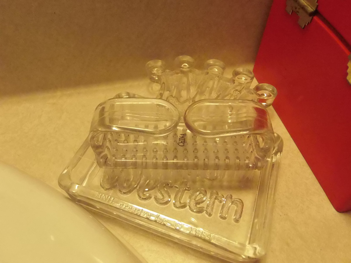 Vintage Best Western ashtray used to hold nail brush.