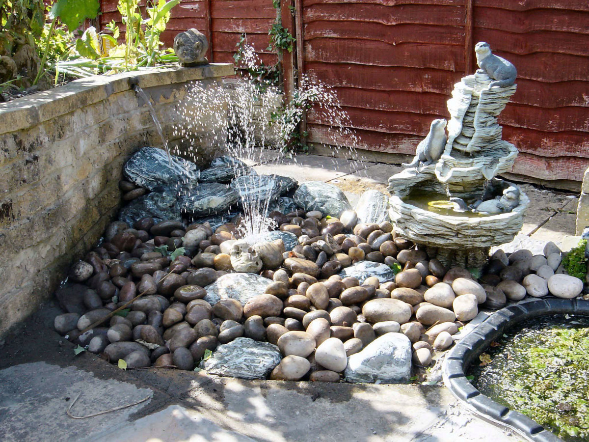 Water features next to pond, c2008.