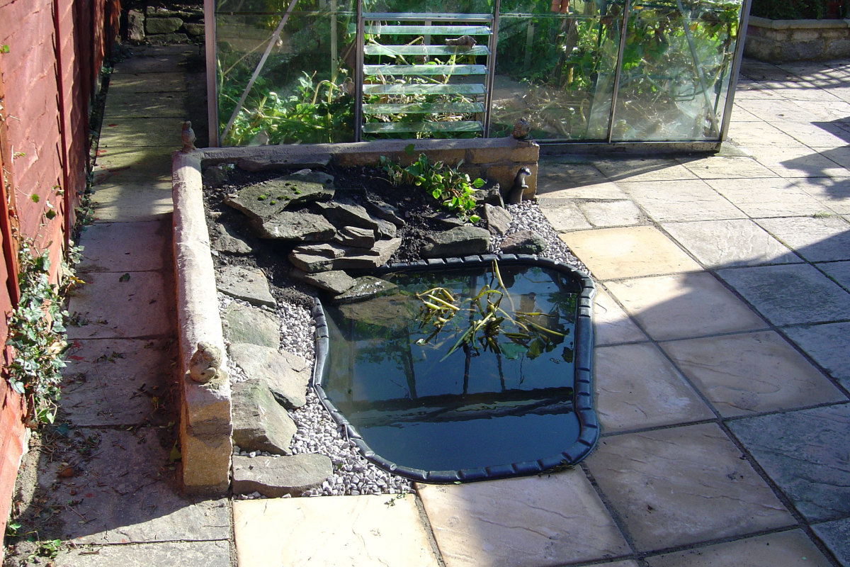 Our third pond 2007, switched from marginal plants in water to alpine plants in rockery.