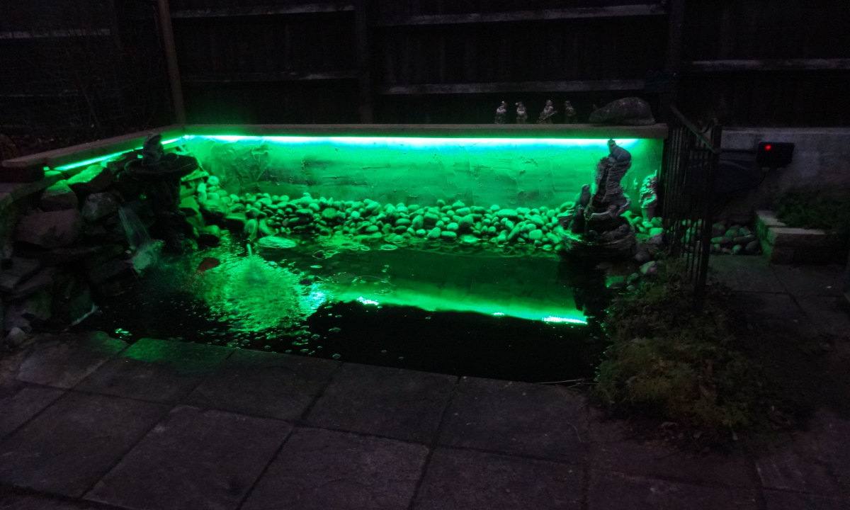 Our new pond makeover complete with coloured LED Lighting.