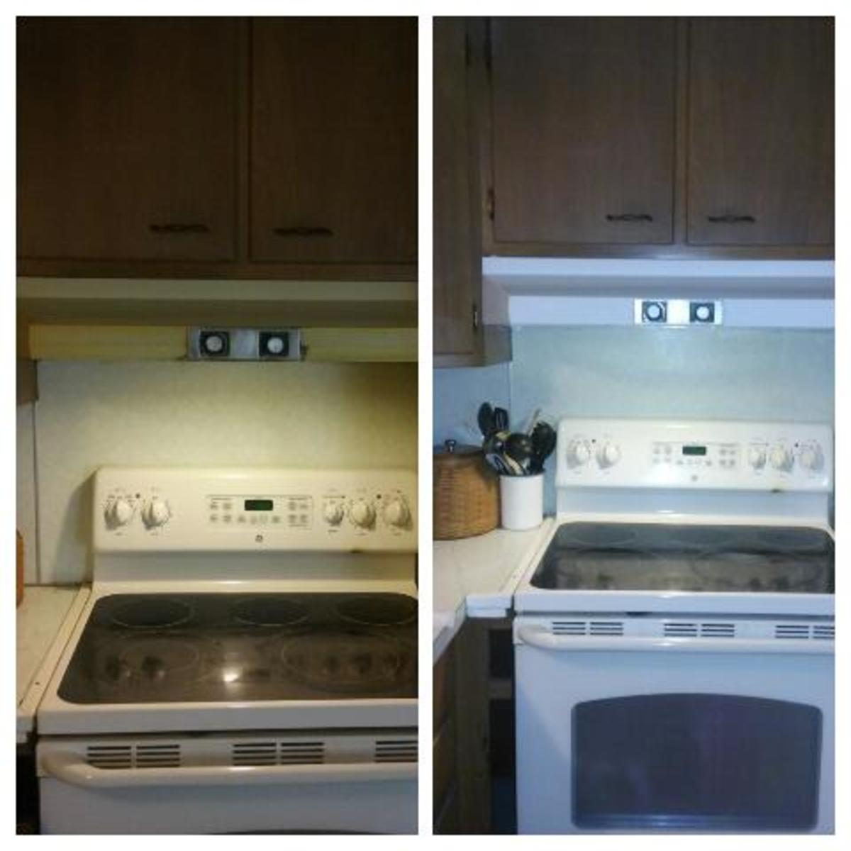 Before and after of ventilation hood.
