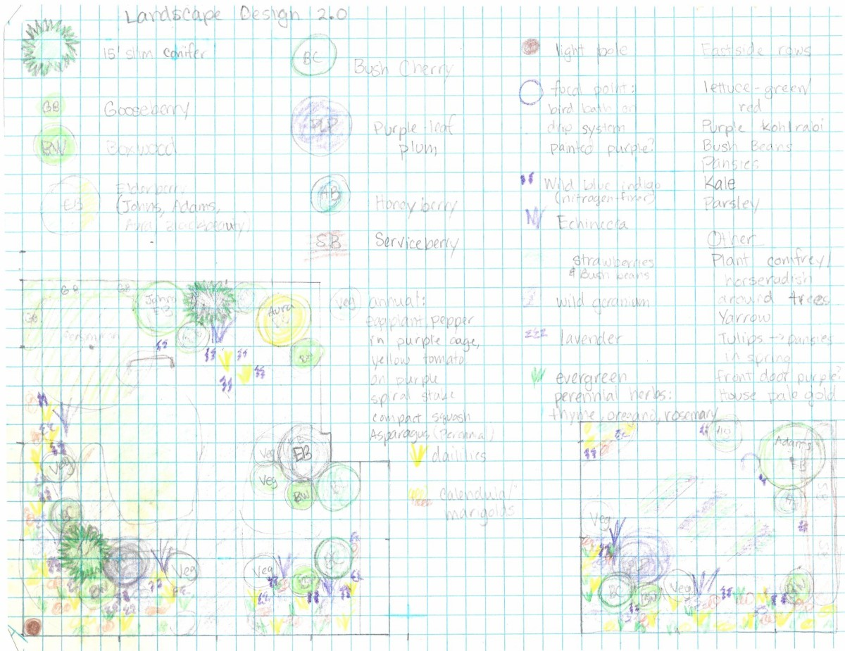 One of many designs.  This layout is useful for initial planning as well as a planting guide.