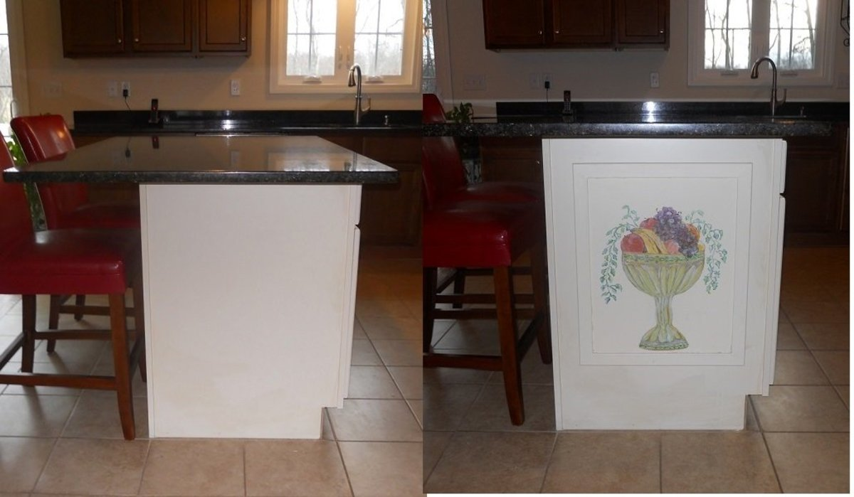 Adding a Decorative Hand-Painted Panel to Your Kitchen Island