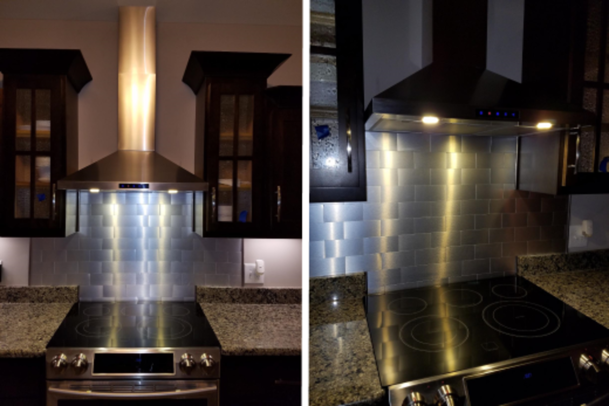 A view of the range hood installed in a kitchen and a close up of how well it illuminates the cook top.